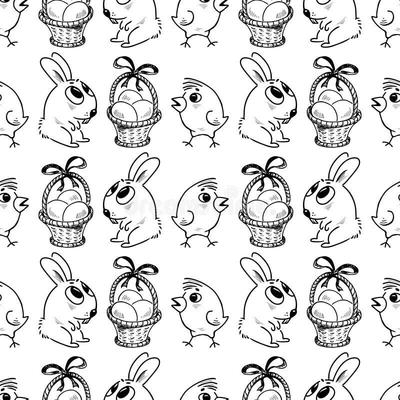 Fondo inconsútil de los conejos, de los huevos y de los pollos de pascua ilustración del vector