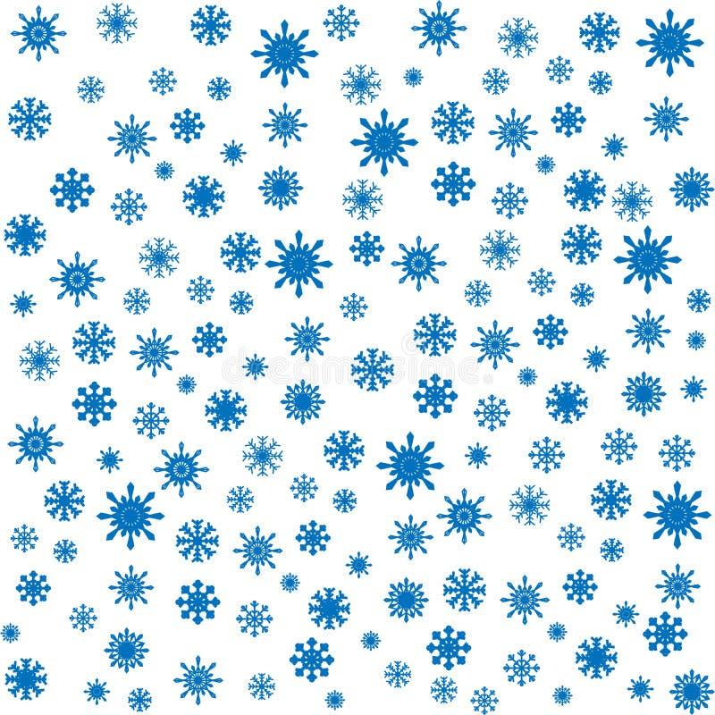 Fondo inconsútil de los copos de nieve azules de la Navidad ilustración del vector