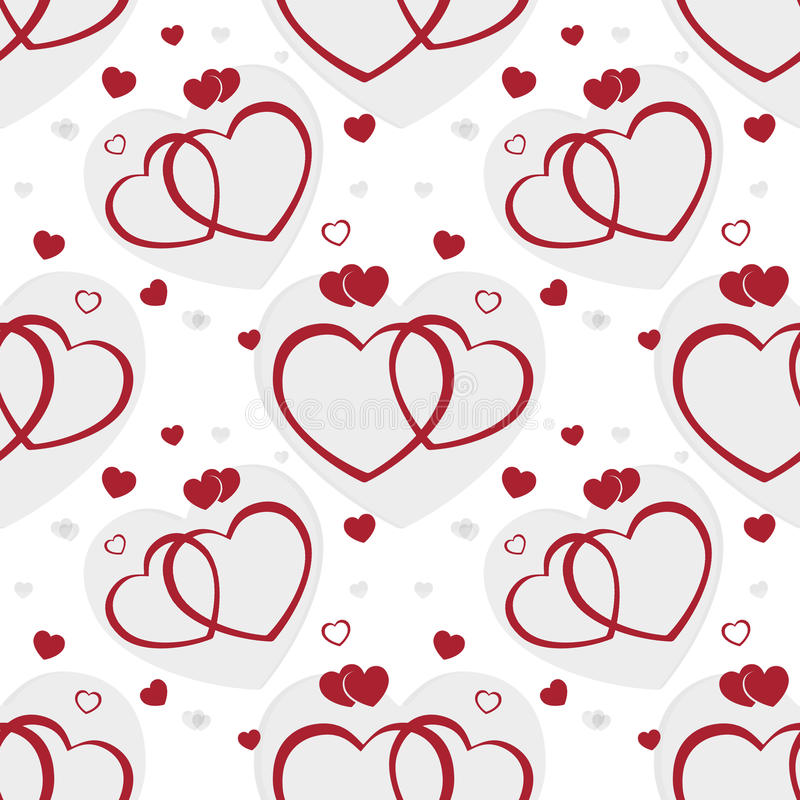 Fondo inconsútil de los corazones de la tarjeta del día de San Valentín ilustración del vector