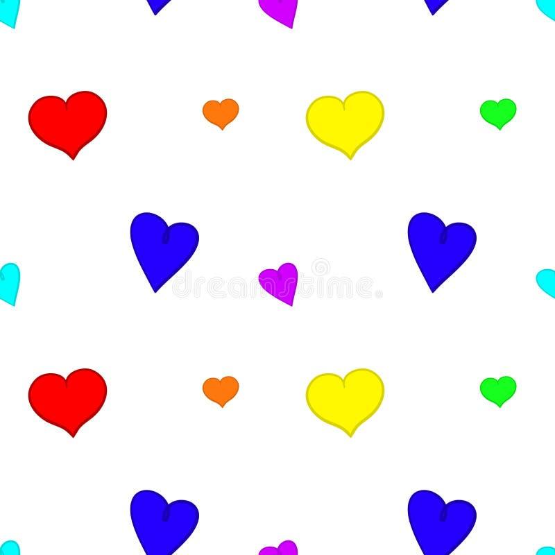 Fondo inconsútil de los corazones del arco iris stock de ilustración