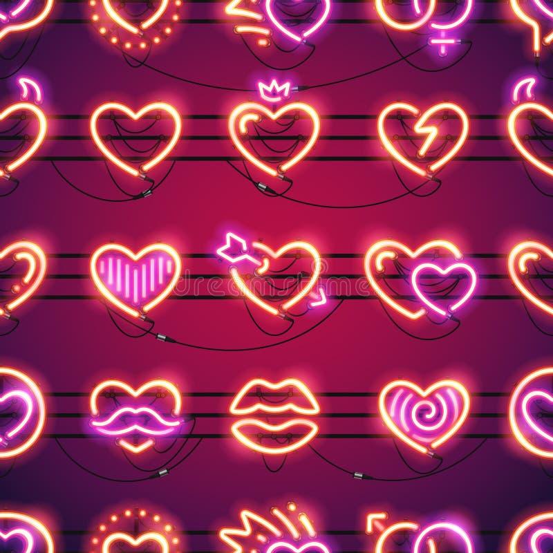 Fondo inconsútil de los corazones de neón que brilla intensamente ilustración del vector