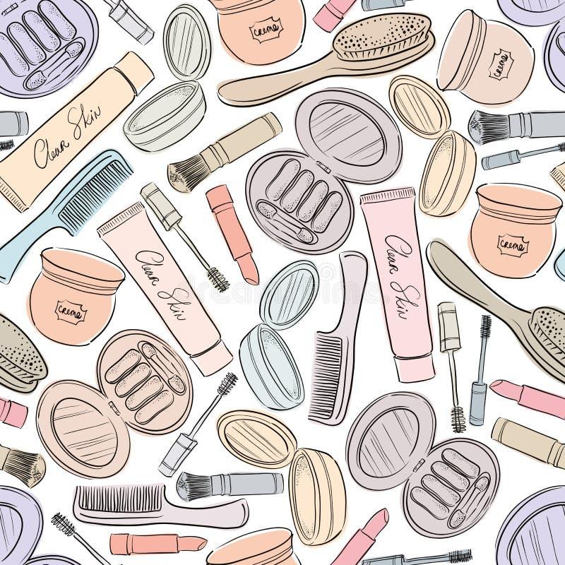 Fondo inconsútil de los cosméticos stock de ilustración