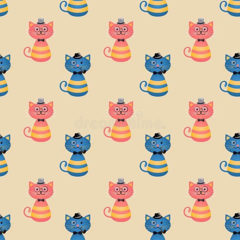 Fondo inconsútil de los gatos de la moda del inconformista libre illustration