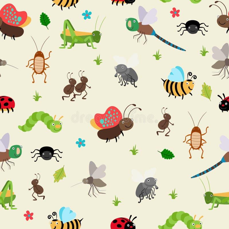 Fondo inconsútil de los insectos y de los escarabajos stock de ilustración