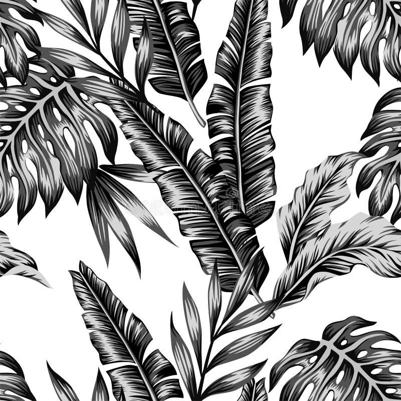 Fondo inconsútil de moda de las plantas tropicales stock de ilustración