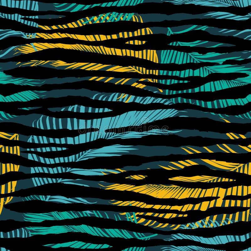 Fondo inconsútil de moda del modelo de las hojas de palma ilustración del vector