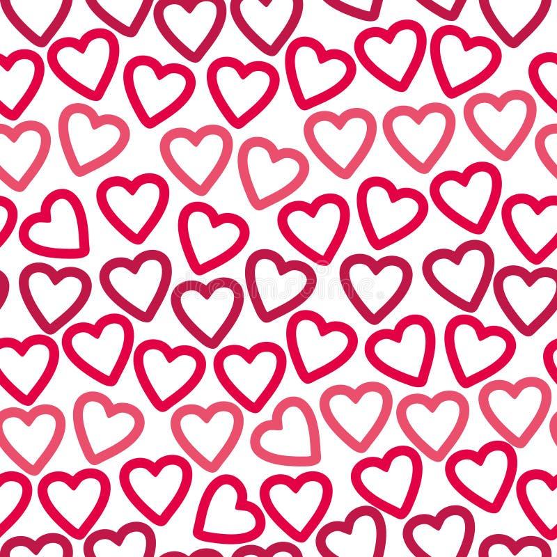 Fondo inconsútil de muchos contornos de los corazones rojos y rosados que crean un modelo a cielo abierto ilustración del vector