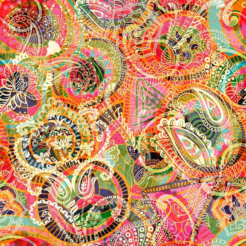 Fondo inconsútil de Paisley, estampado de flores Contexto ornamental colorido Papel pintado del color con las flores decorativas ilustración del vector