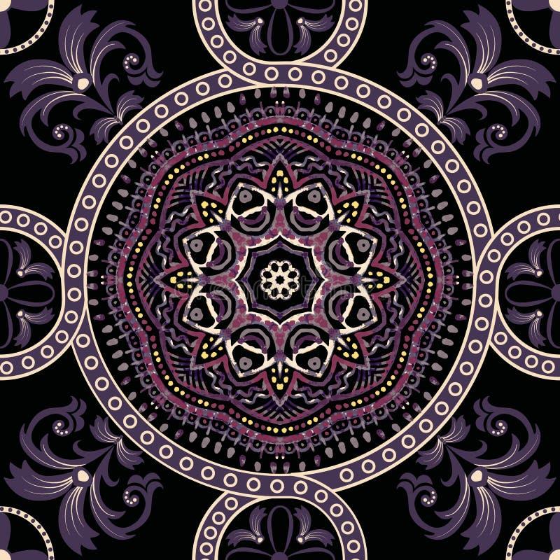 Fondo inconsútil de Paisley, estampado de flores Ornamento indio ornamental colorido ilustración del vector