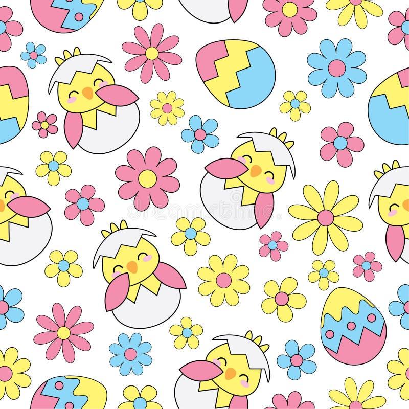 Fondo inconsútil de Pascua con el polluelo, los huevos y las flores lindos ilustración del vector
