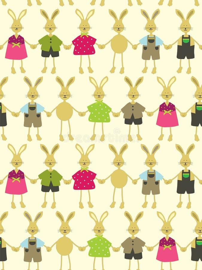 Fondo inconsútil de pascua con los conejitos de pascua libre illustration