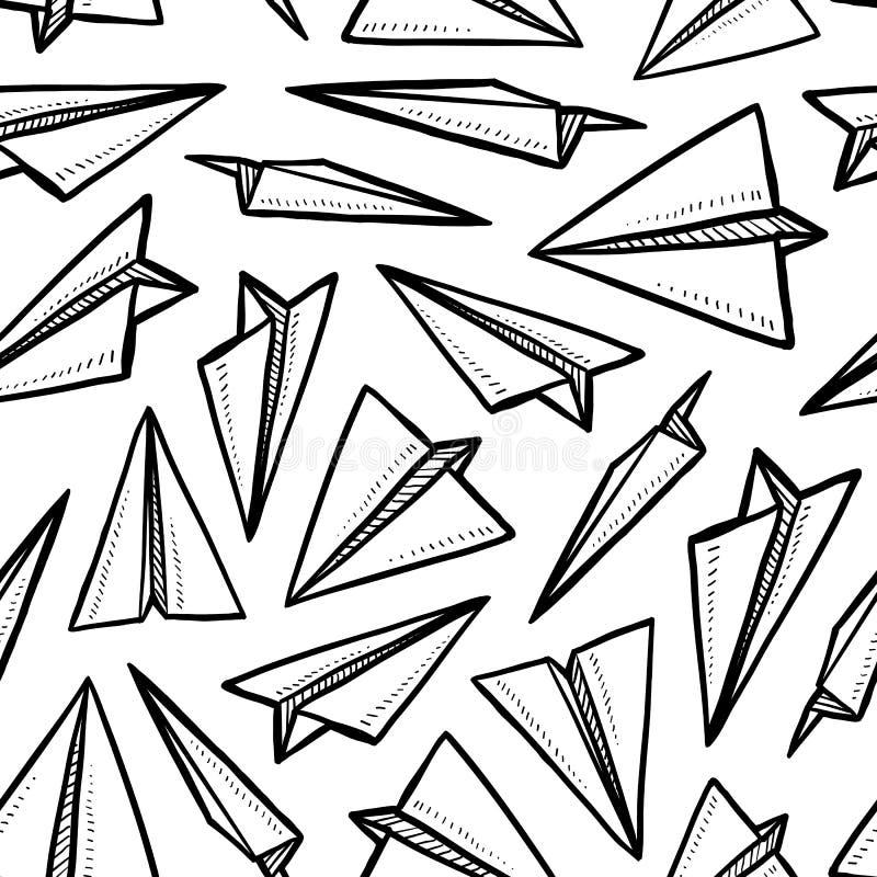 Fondo inconsútil del aeroplano de papel stock de ilustración