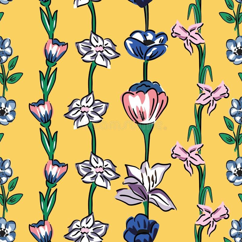 Fondo inconsútil del amarillo del modelo de las flores salvajes libre illustration
