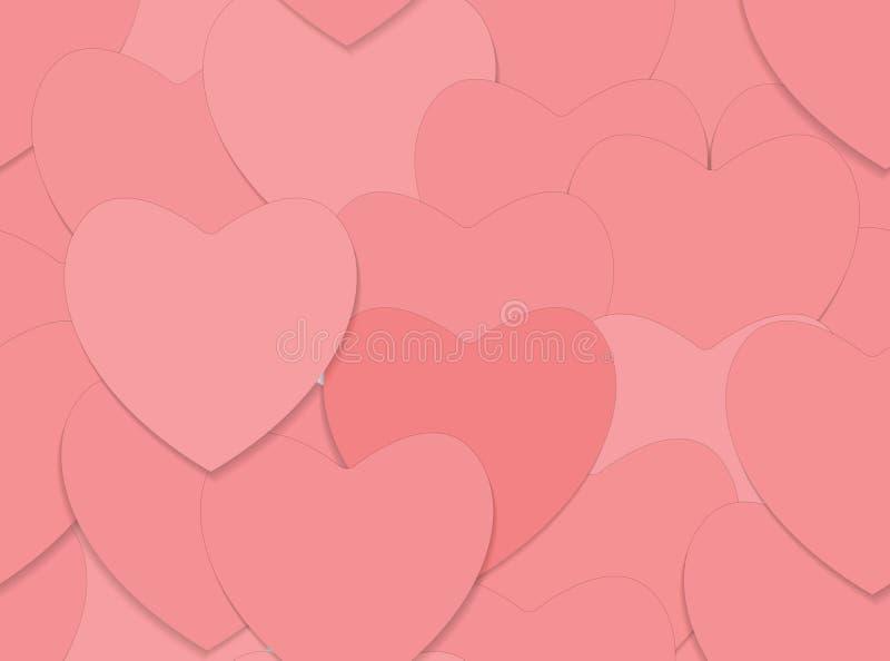 Fondo inconsútil del amor con los corazones rojos ilustración del vector
