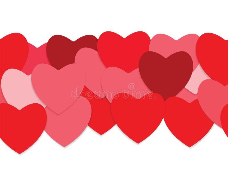 Fondo inconsútil del amor con los corazones rojos libre illustration