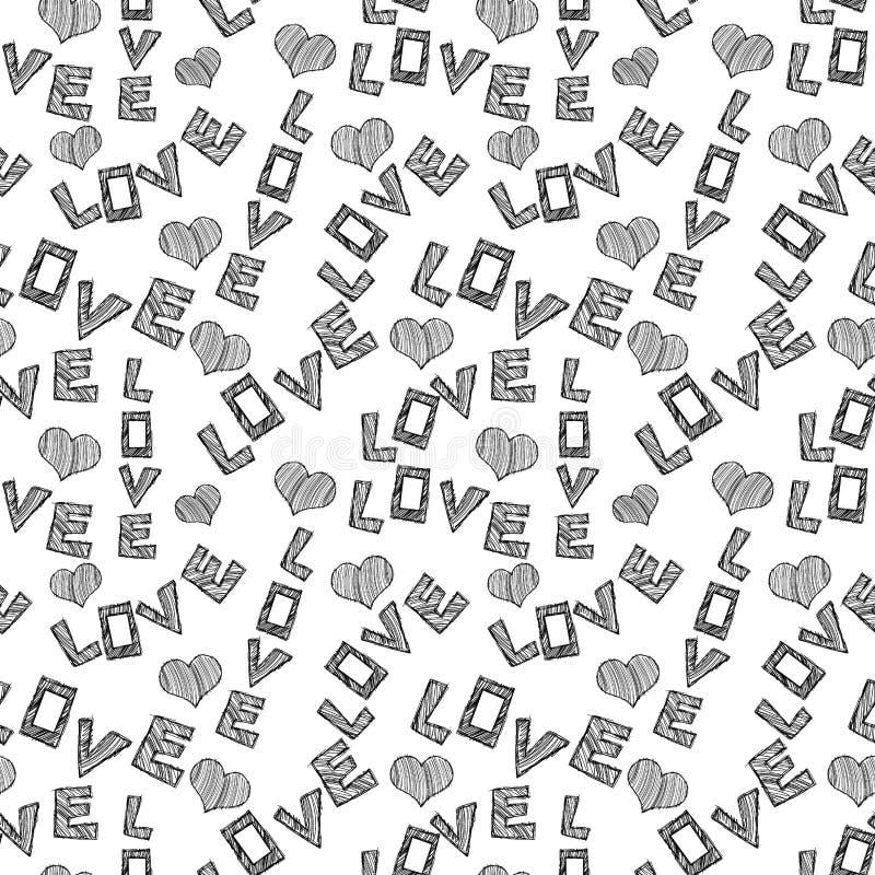 Fondo inconsútil del amor de las palabras libre illustration