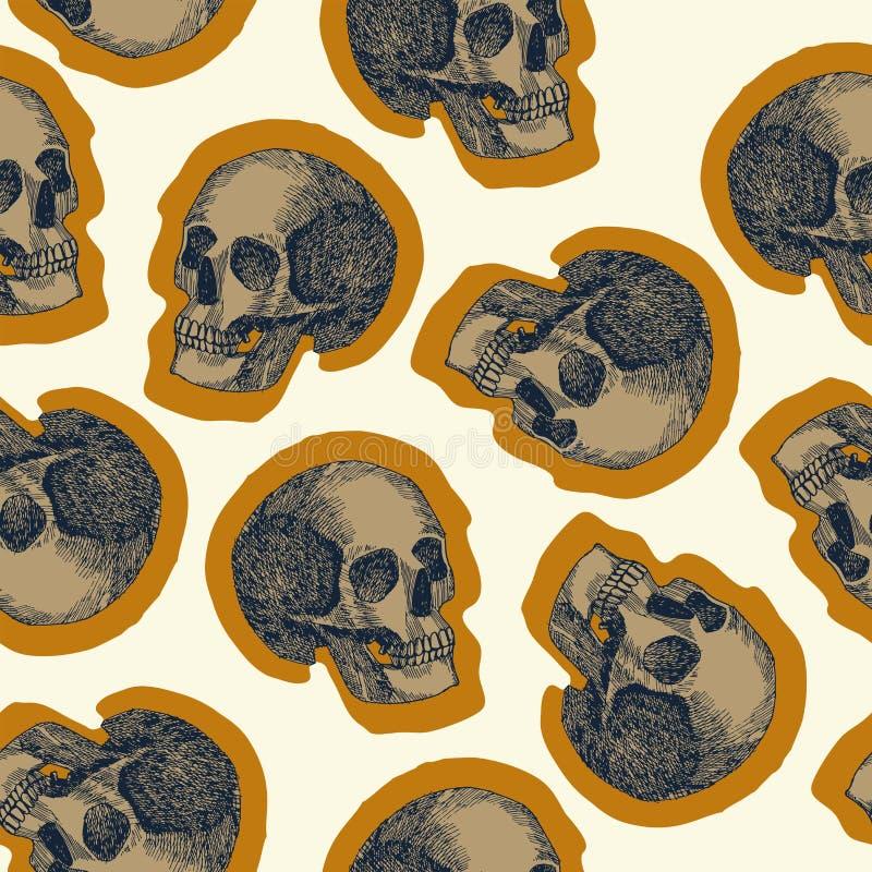 Fondo inconsútil del beige del modelo del cráneo stock de ilustración