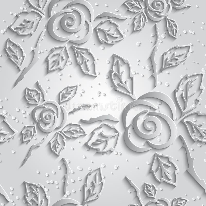 Fondo inconsútil del blanco del extracto 3D Rosas de papel con descenso stock de ilustración