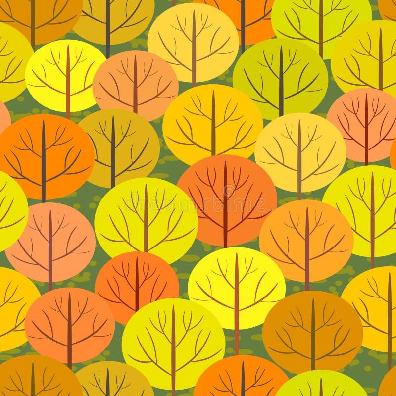 Fondo inconsútil del bosque abstracto del otoño stock de ilustración