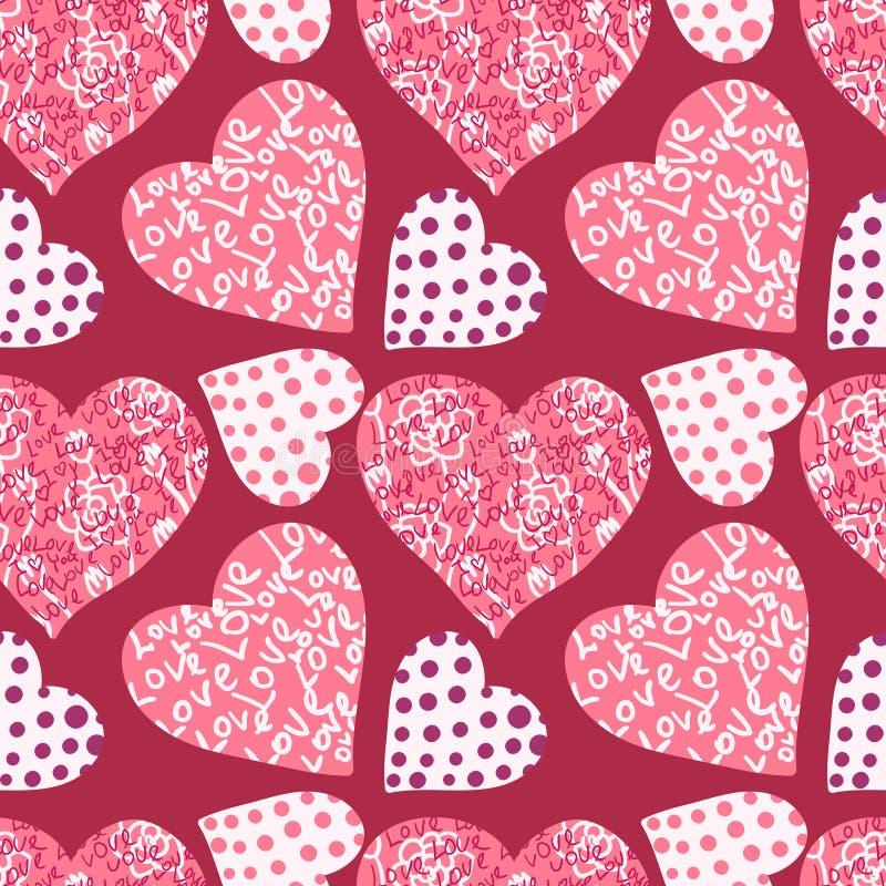 Fondo inconsútil del día de tarjeta del día de San Valentín stock de ilustración