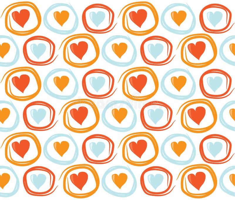 Fondo inconsútil del día de tarjetas del día de San Valentín con los círculos y los corazones Textura tejada del día de fiesta de stock de ilustración