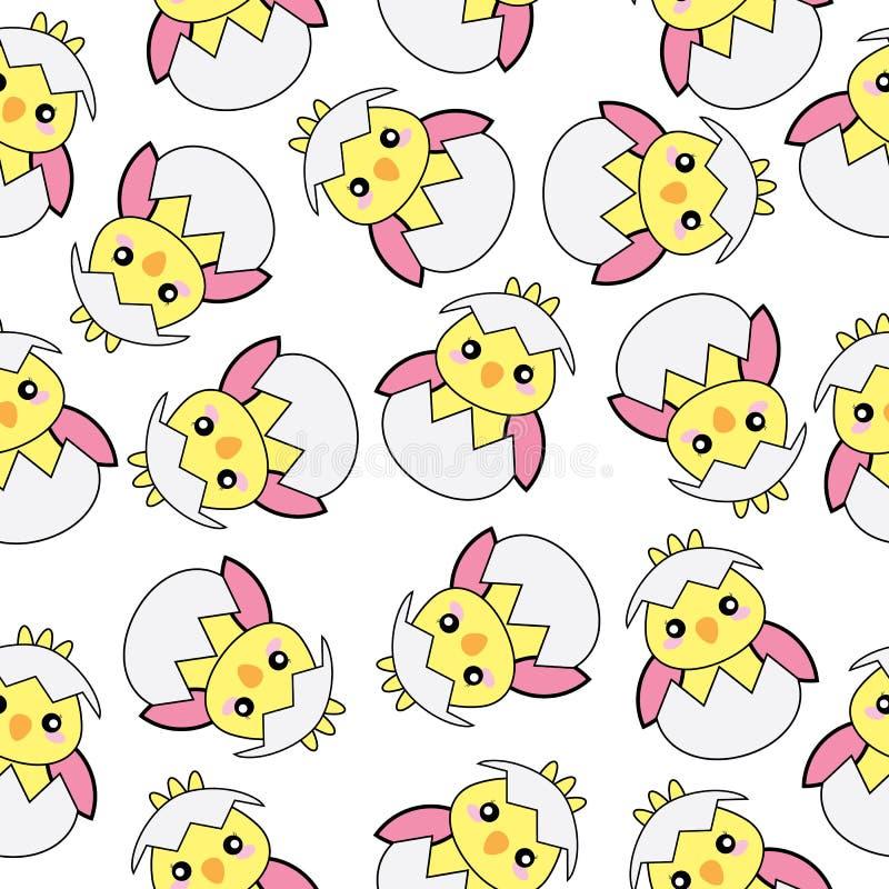 Fondo inconsútil del ejemplo de Pascua con el polluelo rosado lindo del bebé en el fondo blanco libre illustration