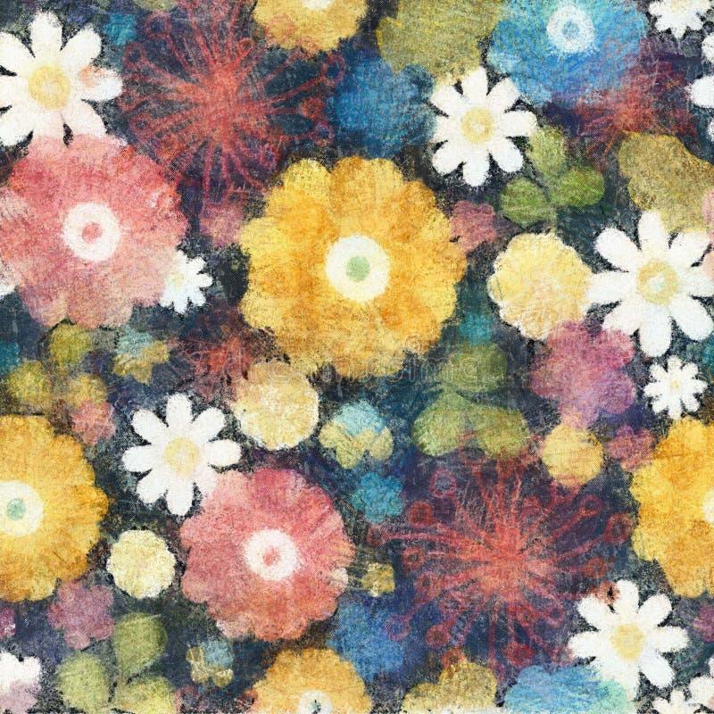 Fondo inconsútil del estilo del color de agua de la flor stock de ilustración