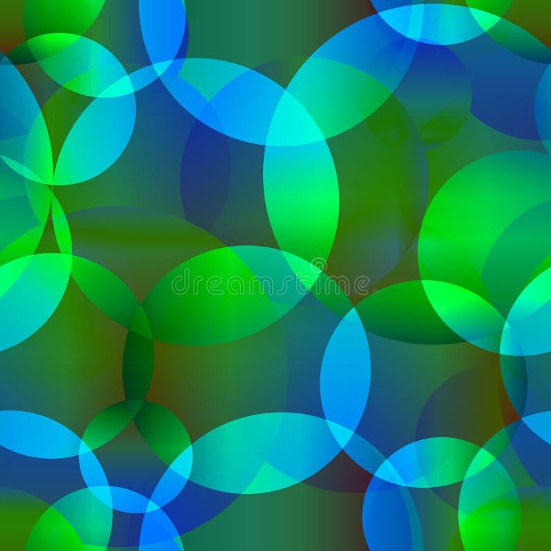 Fondo inconsútil del extracto del vector del círculo brillante azul y verde ilustración del vector