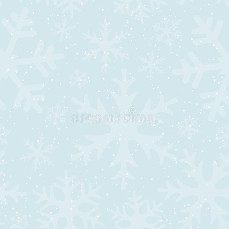 Fondo inconsútil del invierno con nieve y copos de nieve que caen Colores en colores pastel suaves Papel pintado o cubierta para  ilustración del vector