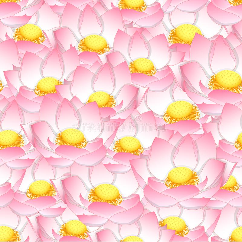 Fondo inconsútil del loto indio rosado stock de ilustración
