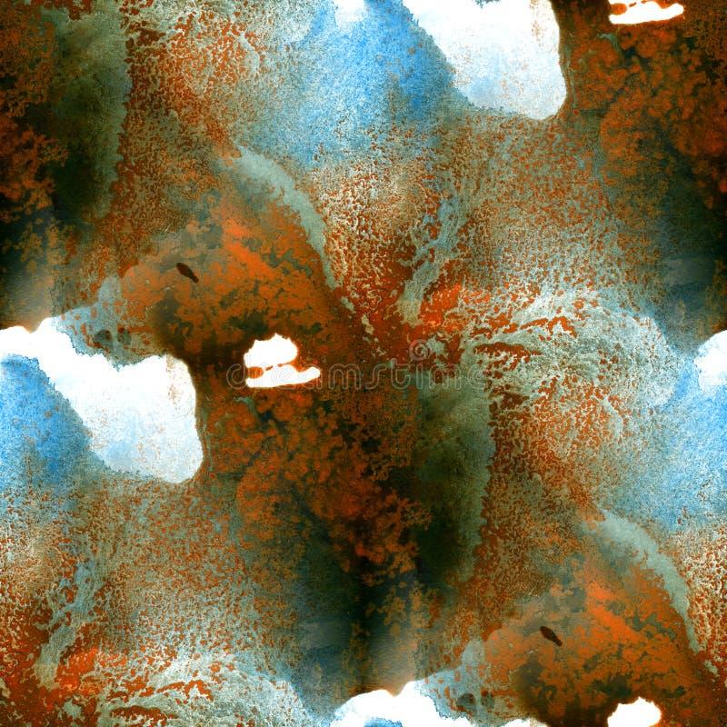 Fondo inconsútil del marrón azul del modelo Arte pintado a mano de la acuarela hecha a mano abstracta libre illustration
