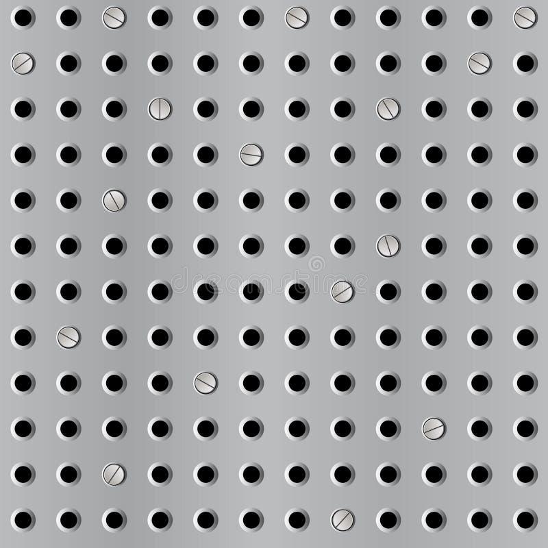 Fondo inconsútil del metal con la perforación stock de ilustración