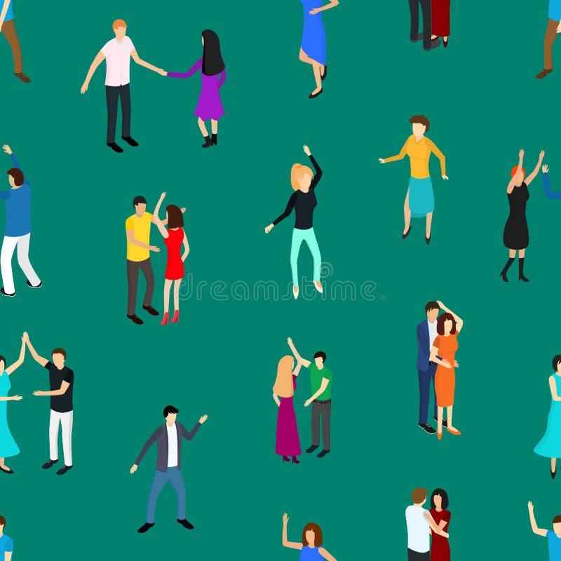 Fondo inconsútil del modelo del baile de los caracteres isométricos de la gente Vector stock de ilustración