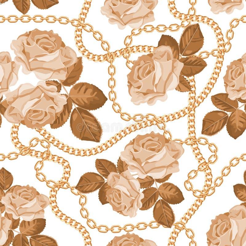 Fondo inconsútil del modelo con las cadenas de oro y las rosas beige En blanco Ilustración del vector ilustración del vector