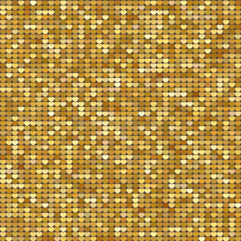 Fondo inconsútil del modelo con los corazones del brillo del oro Ilustración del vector Concepto del amor Papel pintado lindo Bue libre illustration