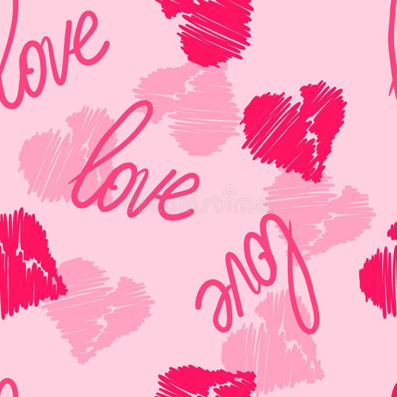 Fondo inconsútil del modelo con los corazones del mano-dibujo y palabra del amor para el uso en el diseño para el día o la boda d ilustración del vector