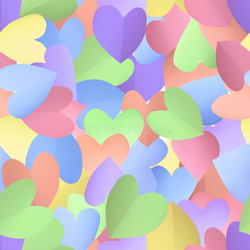 Fondo inconsútil del modelo con los corazones en colores pastel libre illustration