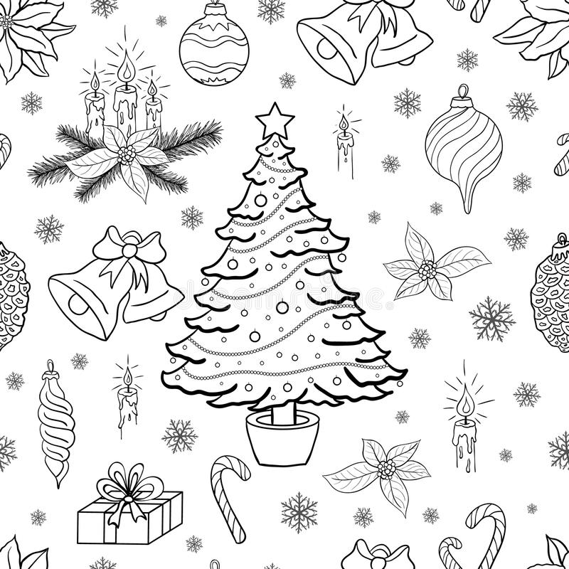 Fondo inconsútil del modelo con los elementos decorativos de la Navidad stock de ilustración