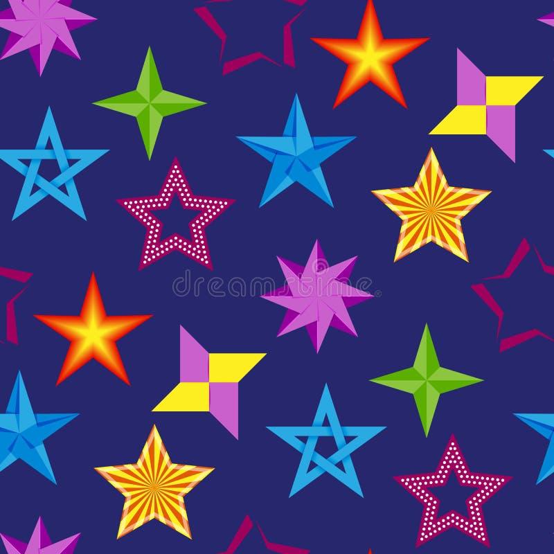 Fondo inconsútil del modelo de diverso del estilo de la forma de la silueta de la estrella de los iconos de la colección ejemplo  libre illustration