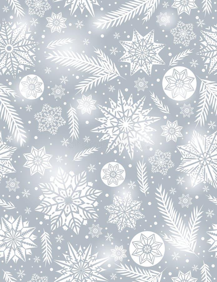 Fondo inconsútil del modelo de Grey Christmas con los copos de nieve stock de ilustración