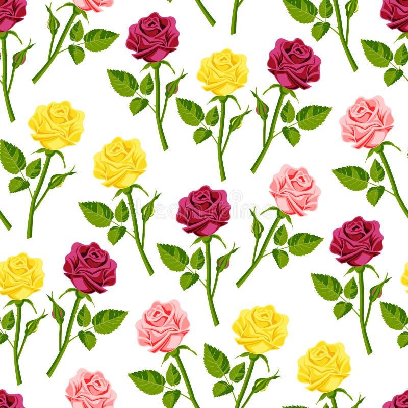 Fondo inconsútil del modelo de la acuarela de la flor del ejemplo hecho a mano determinado color de rosa hermoso del estilo stock de ilustración