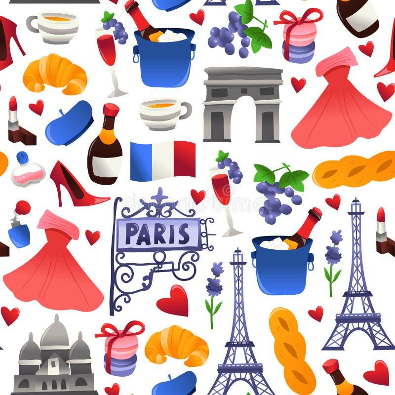 Fondo inconsútil del modelo de la cultura linda estupenda de París ilustración del vector