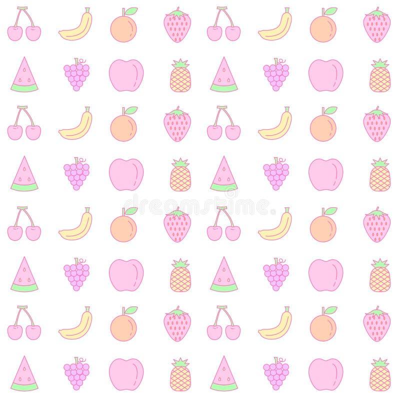 Fondo inconsútil del modelo de la fruta en colores pastel dulce stock de ilustración