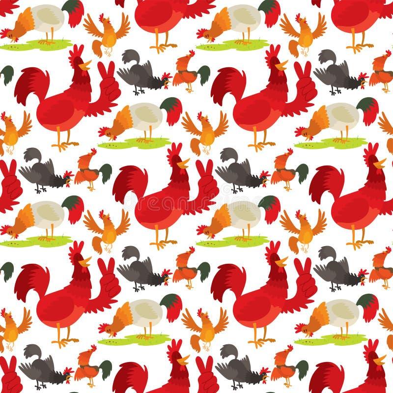 Fondo inconsútil del modelo de la historieta del gallo del vector del ejemplo de pollo del campo del animal del carácter nacional ilustración del vector