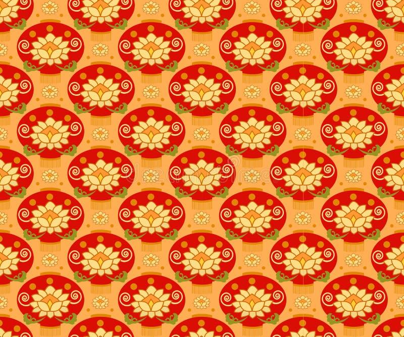 Fondo inconsútil del modelo de la linterna china roja Ornamento tradicional stock de ilustración