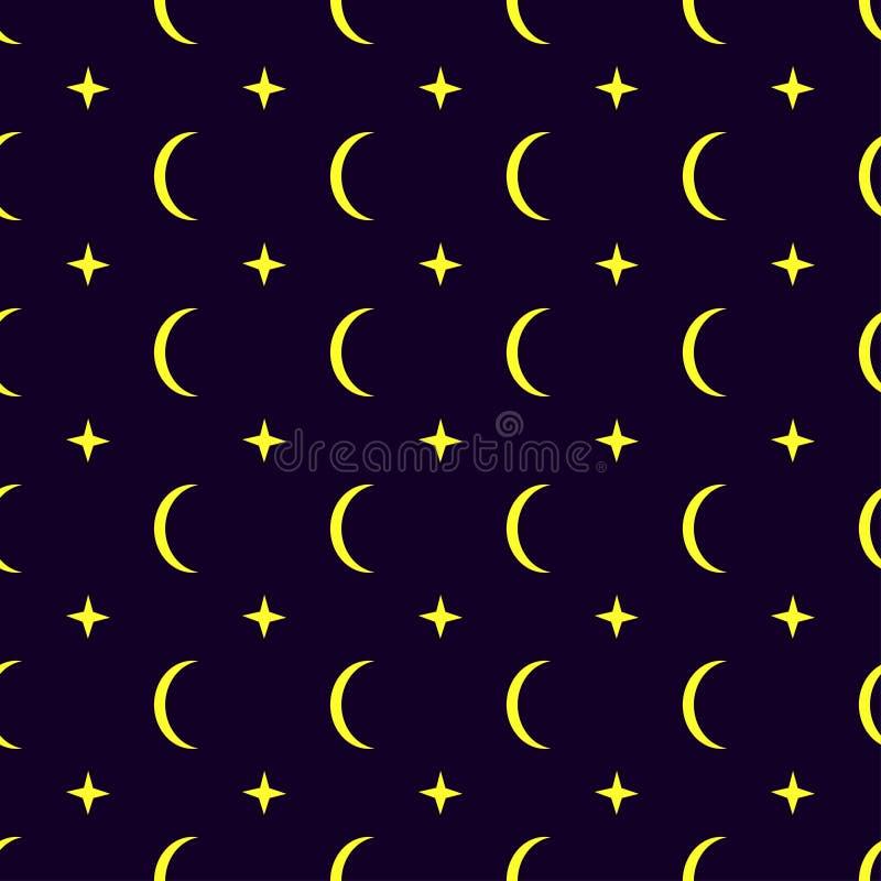 Fondo inconsútil del modelo de la luna stock de ilustración