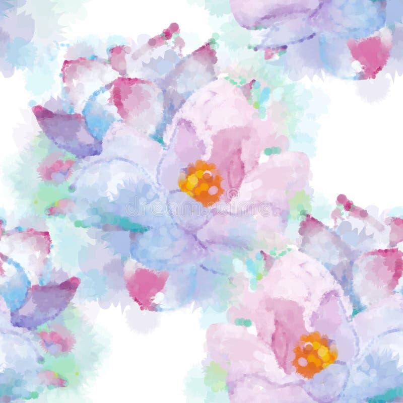 Fondo inconsútil del modelo de la magnolia de imitación pintada a mano de la acuarela No rastro libre illustration