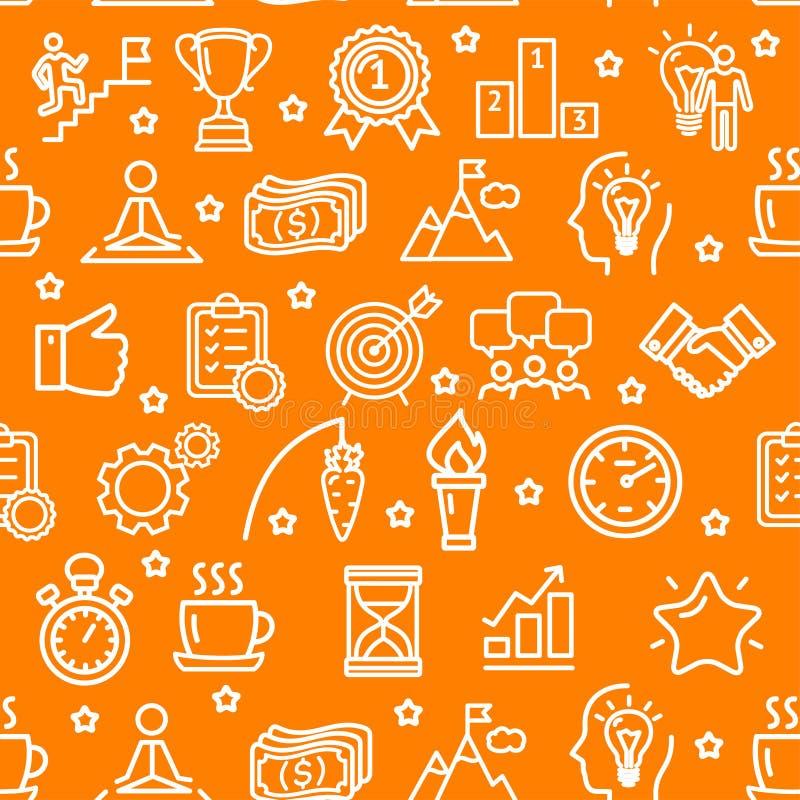 Fondo inconsútil del modelo de la motivación y de la productividad en una naranja Vector libre illustration