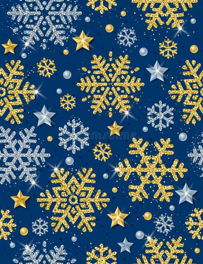 Fondo inconsútil del modelo de la Navidad azul con de oro y el silve ilustración del vector