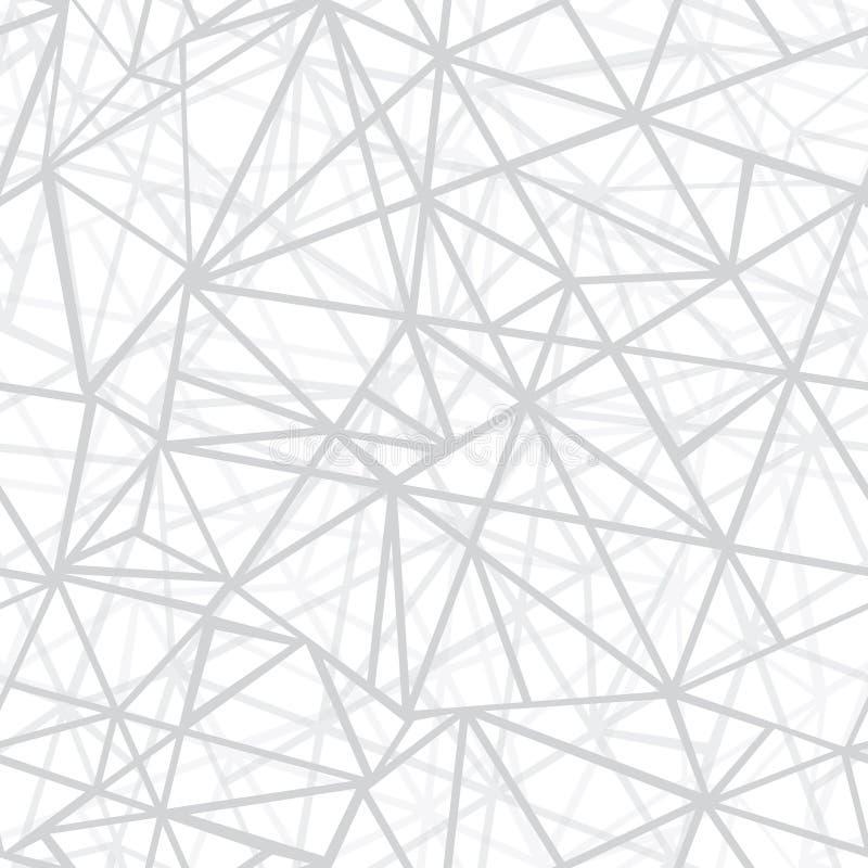 Fondo inconsútil del modelo de la repetición de plata de Grey Wire Geometric Mosaic Triangles del vector Puede ser utilizado para stock de ilustración